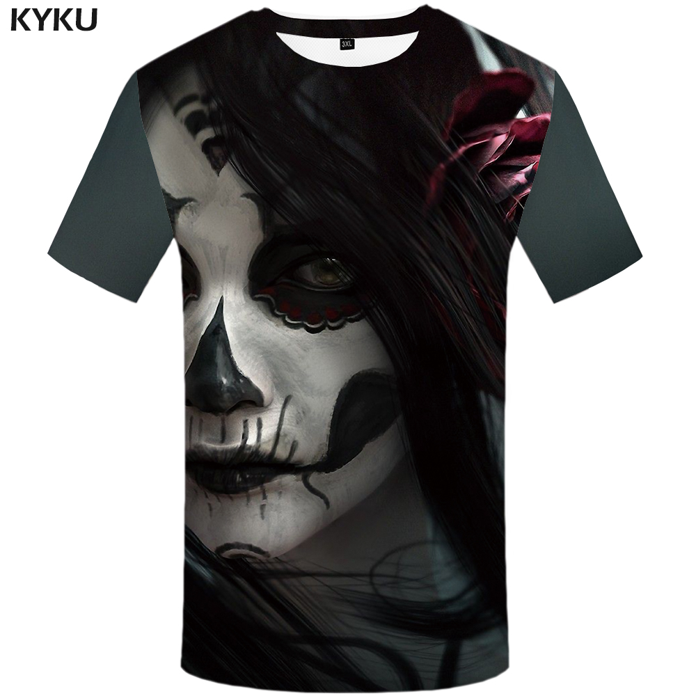KYKU Skull T Shirt Women Gothic Shirts Rose Clothing Funny Plus Size 3D Tops 3d T-Shirt Womens Hip Hop Sexy Fitness XS-8XL