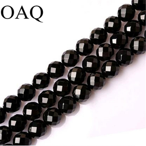 6-12MM Black Onyx Natural Stone Beads Faceted Carnelian Agat Beads Faceted Cut Round Onyx Wholesale Beads For Jewelry Making(China)