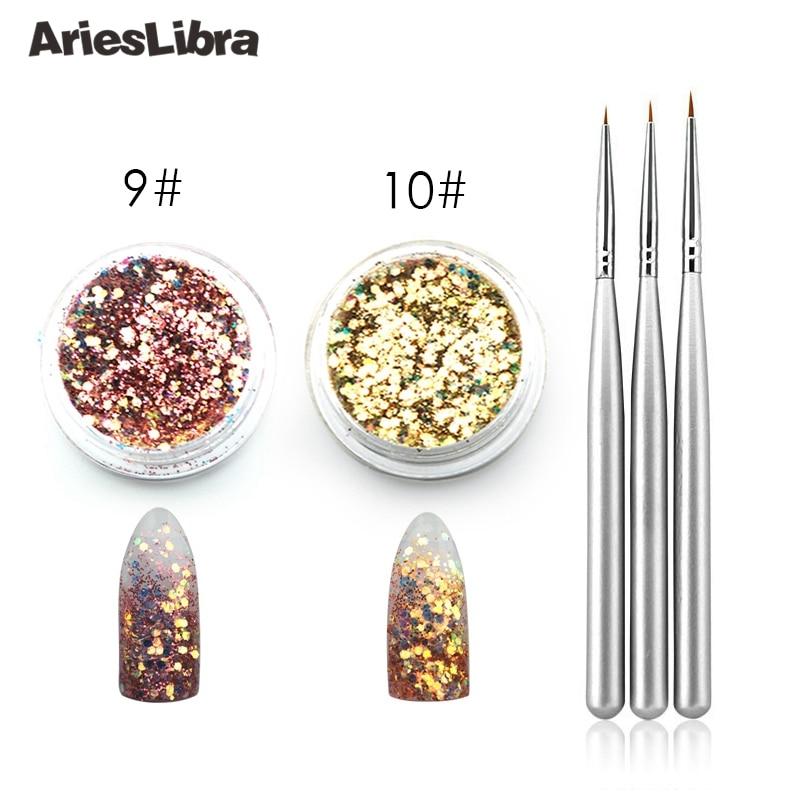 AriesLibra Acrylic Nail Art Brush Glitter Set For UV Gel Builder Nail Line Drawing Pen Acrylic Powder Dust Manicure Set