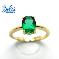 Bolaijewelry,Created green emerald ring oval 6*8mm 925 sterling silver fine jewelry for women best gift