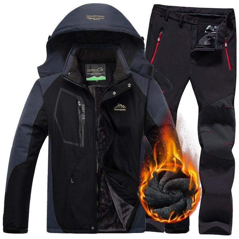 Hommes hiver imperméable veste pantalon Trekking randonnée Camping Ski Snowboard vestes extérieur thermique polaire Ski costumes pour hommes