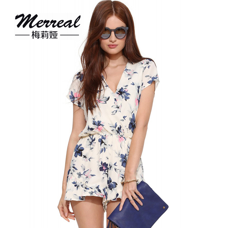 New 2016 New Arrival Summer Style Jumpsuits Sexy V Neck Flower Printed font b Women s