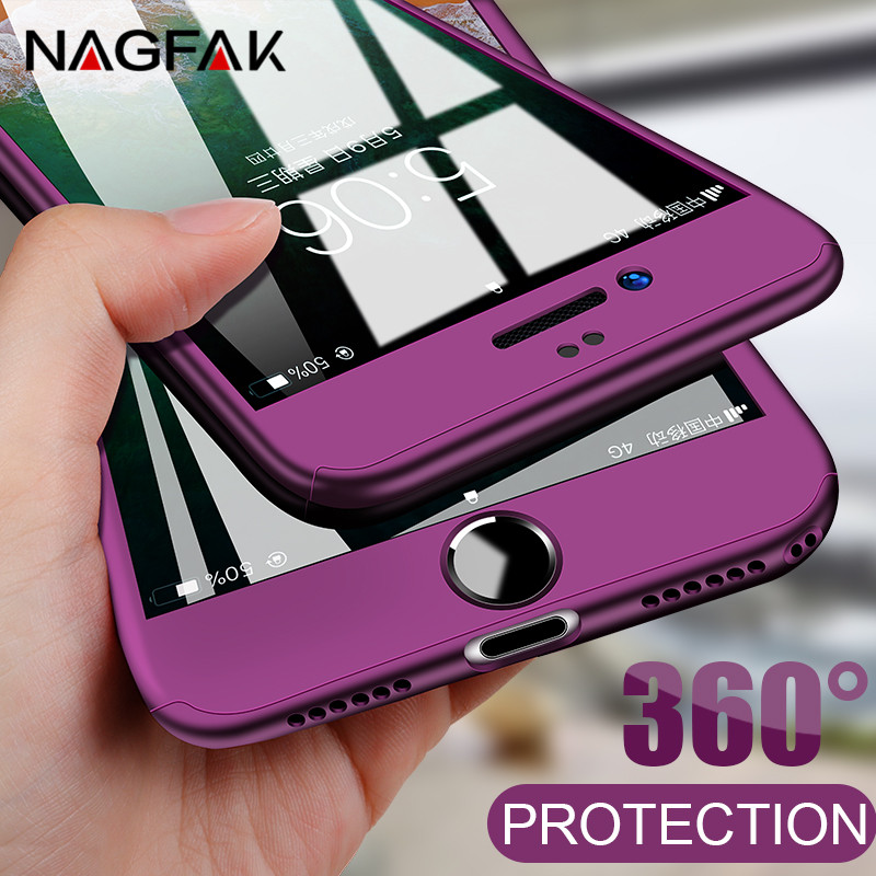 360 Degree Full Cover Phone Case For iPhone 7 6 6s 8 Plus Protection Case For iphone 6 7 8 Plus 6s 5 5s With Tempered Glass Case