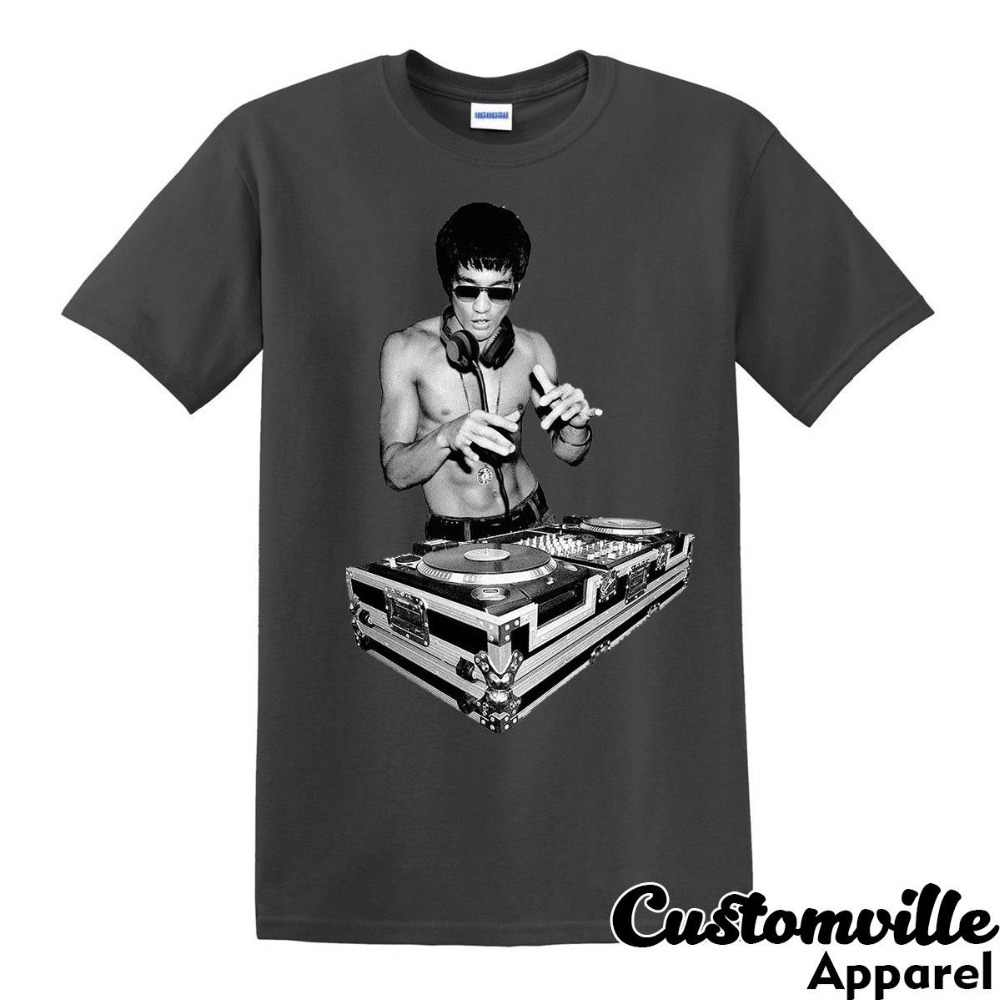 yet not vulgar store top-rated professional Bruce Lee Dj Unisex T-Shirt. Funny Tony Stark Movie Fans Kung Fu Summer  Fashion Letter Printed Cotton T Shirt Custom Tees
