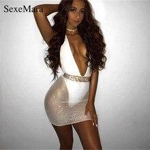 ANJAMANOR Mesh Diamonds Sequin Sexy Dress Women Halter Deep V Backless Mini Bodycon  Dress Birthday Club 18a4d2098032