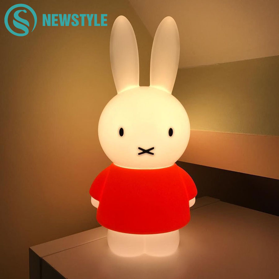 45cm Cartoon Rabbit LED Night Light Nordic Style Home Decoration Night Lamp for Children Baby Bedroom Christmas Birthday Gift beiaidi 7 color usb rechargeable rabbit led night light dimmable animal cartoon light with remote baby kids christmas gift lamp