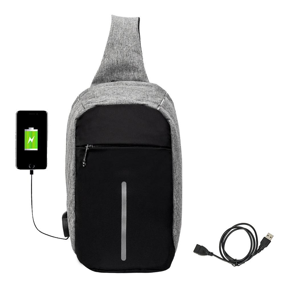 Male External USB Charge Chest Bags Men Chest Pack Antitheft Travel Crossbody Bag For Men Casual Sling Shoulder Bag augur 2018 men chest bag pack functional canvas messenger bags small chest sling bag for male travel vintage crossbody bag