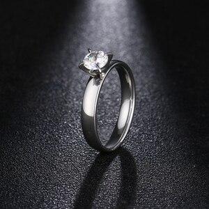 Женские кольца из нержавеющей стали DOTIFI, большие блестящие кольца из циркония 4 мм для помолвки и свадьбы