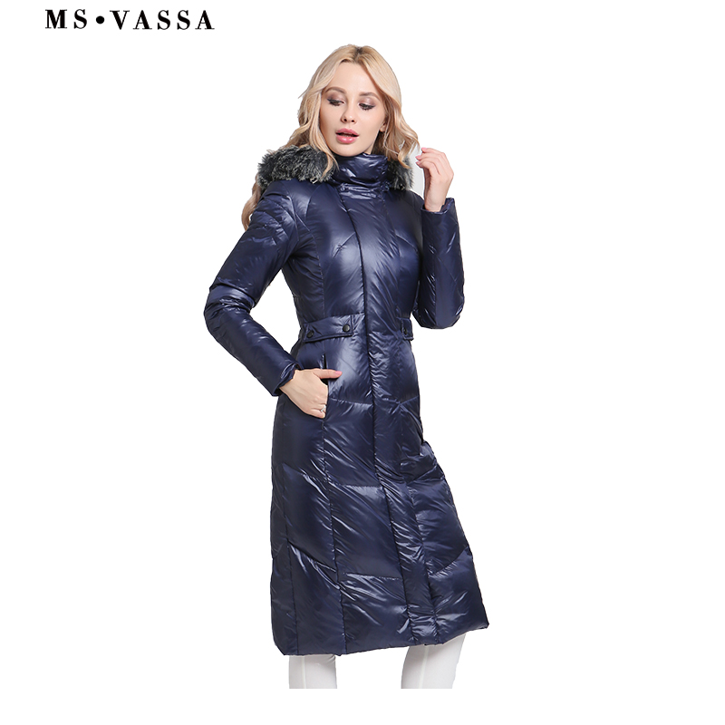 MS VASSA   Down   Jacket 2018 Women New Winter Jackets Parkas plus size 6XL 7XL white duck   down   long   coats   stand up collar outerwear