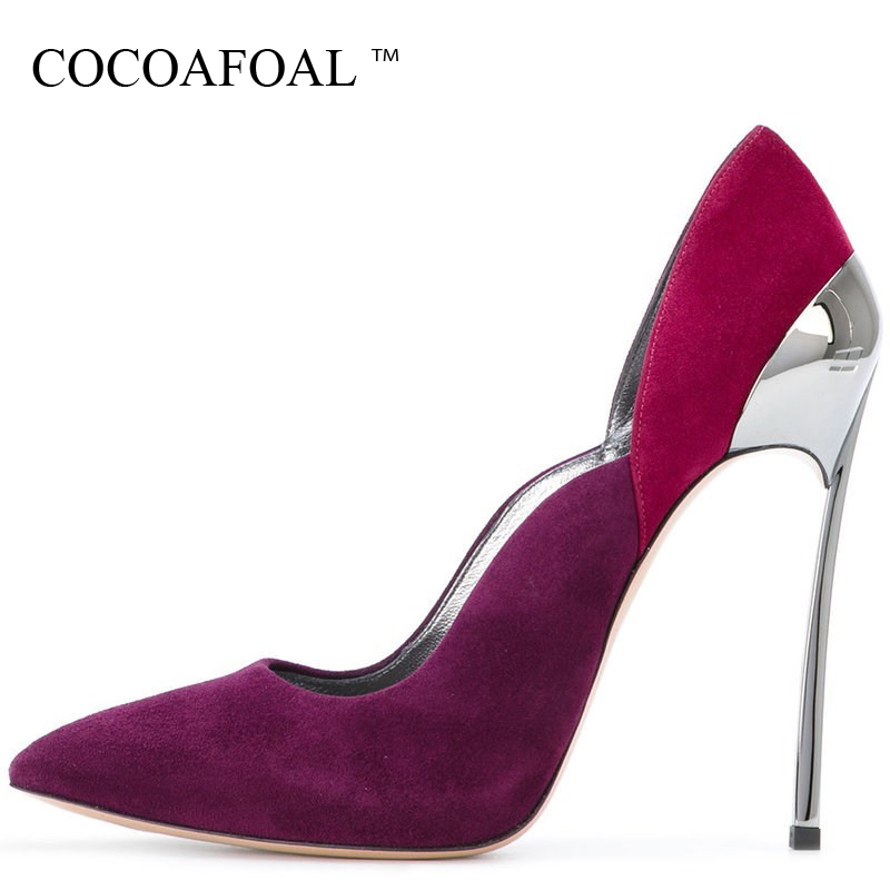 COCOAFOAL Woman Red Valentine Shoes Stiletto Plus Size 33 43 High Heels Shoes Metal Decoration Sexy Pointed Toe Wedding PumpsCOCOAFOAL Woman Red Valentine Shoes Stiletto Plus Size 33 43 High Heels Shoes Metal Decoration Sexy Pointed Toe Wedding Pumps