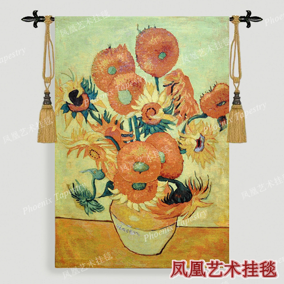 New Hot selling 100% cotton beautiful tapestry Van Gogh sunflower ...