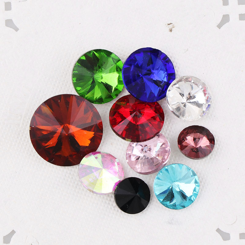 Various Sizes 100PCS Mixed Colors Pointed Long Octagonal Fancy Glass Stones