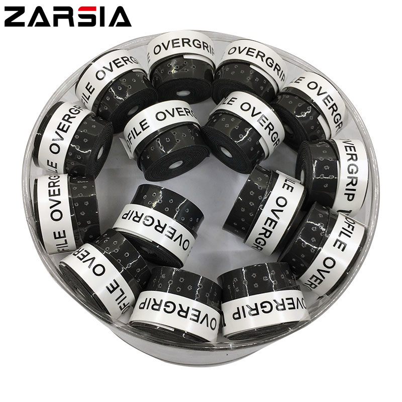 (Black)60 pcs High quality ZARSIA perforated Tennis Overgrip sticky feel Tennis Rackets Grips Badminton Overgrip