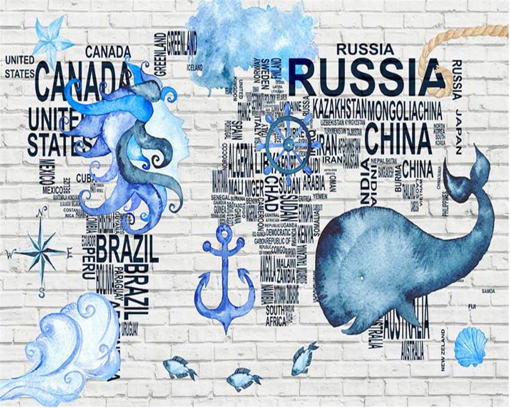 Beibehang Interior Decoration Wallpaper Personalized Fashion Watercolor Navigation Icon World Map Background 3d Tapety In Wallpapers From Home