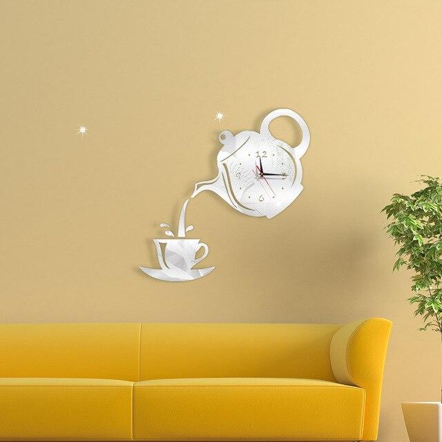 Coffee Cup Teapot 3D Wall Clock 2