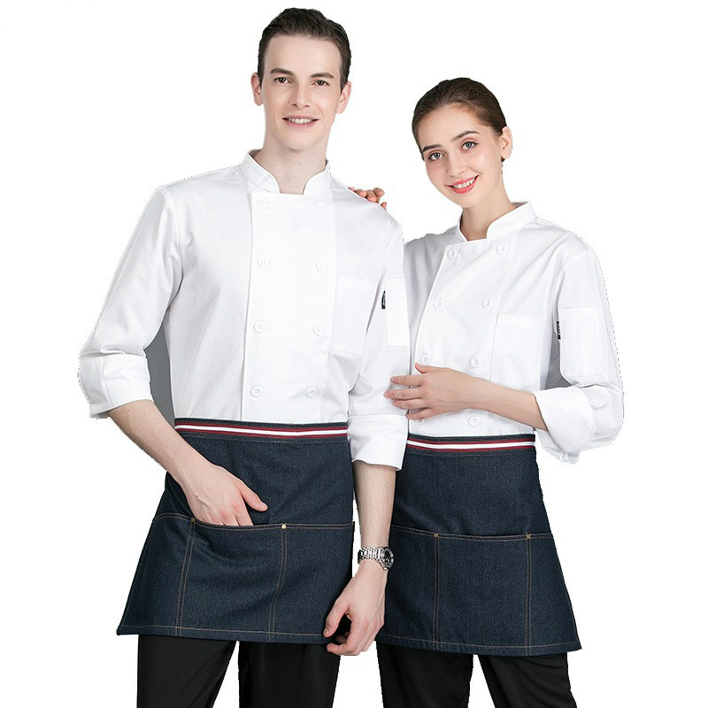 Chef's Work Clothes Men Women Long-sleeved Hotel Dining Kitchen Uniform Custom Chinese Barbecue Plus Size Jacket Overalls H2043