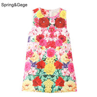 Kids dress for girls sleeveless colorful floral patterned Jacquard toddler girls dresses summer girls clothes