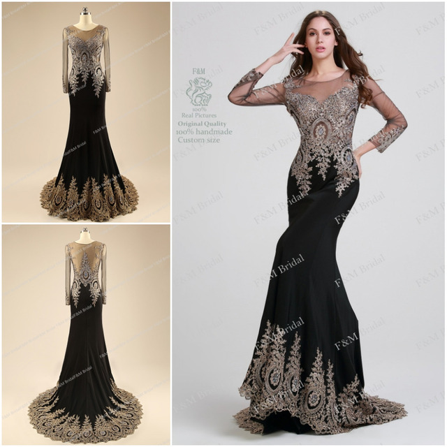 elegant black beaded prom dresses long sleeves 2014 custom