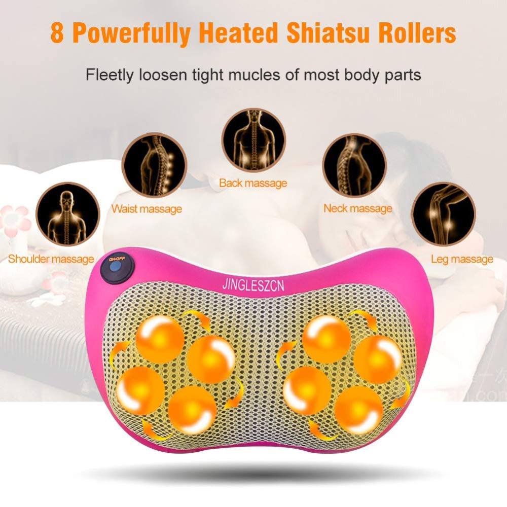 8 Heated Rollers Shiatsu Back Neck Massager Deep Tissue Kneading Shoulder Back Foot Electric Massage Pillow