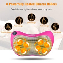 цена на 8 Heated Rollers Shiatsu Back Neck Massager Deep Tissue Kneading Shoulder Back Foot Electric Massage Pillow for Dad,Mom ,Friends