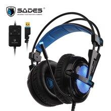 SADES Locust Plus 7.1 Encompass Sound Headphones soft-leather earmuffs Gaming Headset elastic suspension headband Earphones