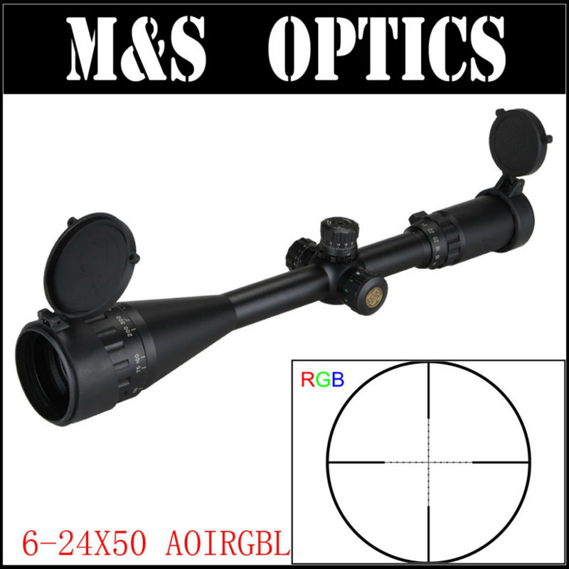 Marcool 6-24x50 AOIRGB Red Green Blue Dot Sight Rifles Scope Illuminated Tactical Aim  Riflescope Hunting Optics With Mounts marcool evv 6 24x50 sfirgl first focus plane tactical rifle scope