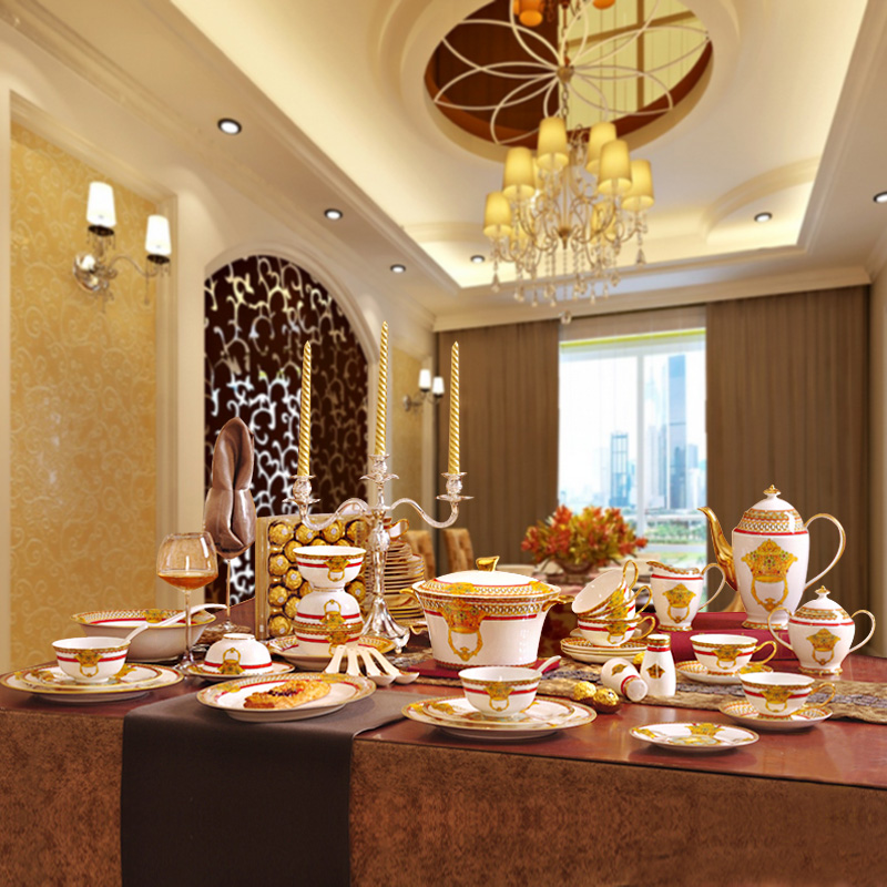 Merveilleux Porcelain Dinnerware Set Bone China Fashion Home Furnishing Outline In Gold  58pcs Dinnerware Sets Dinner Set Coffee Set Gift In Dinnerware Sets From  Home ...
