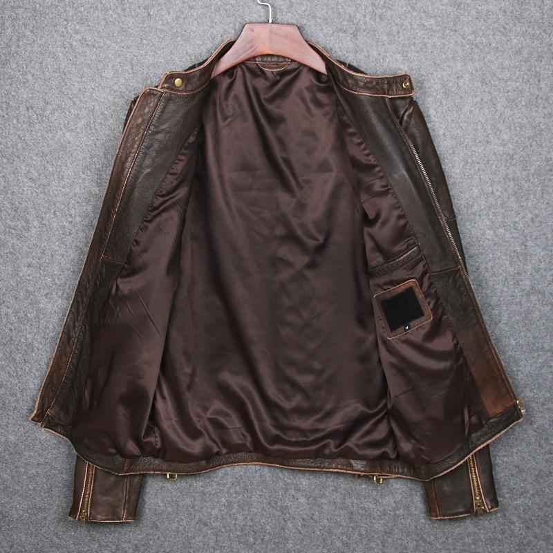 Brun De Cuir Bord Livraison En Broyage Slim Manteau Véritable Homme Vache Veste Vintage Gratuite Nwmn80v