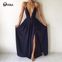 Tobinoone Elegant backless long dress Women evening summer dress Party sexy blue red maxi dresses high split vestidos pajamas