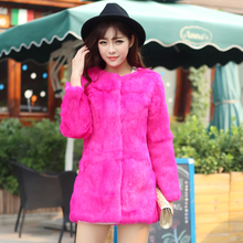 2016 New Hair In The Long Neck Fur Coat. Korean Slim Fashion Rabbit Whole Skin Coat Free Shipping
