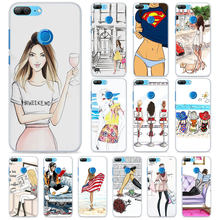 London girl shopping show Phone Cases for Huawei Honor 8 9 10 Lite Hard PC Case Cover for Honor 4C 6C Pro 6x 7x 8x 7s Case(China)