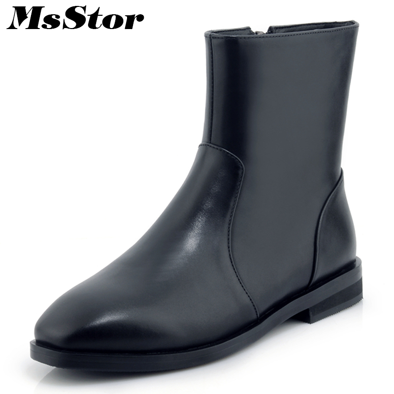 MsStor Square Toe Low Heel Boots Shoes Woman Casual Fashion Concise Zipper Ankle Boots Women Shoes Mature Elegant Boots Women msstor round toe thick bottom women boots casual fashion concise ankle boots women shoes mature elegant platform boots women