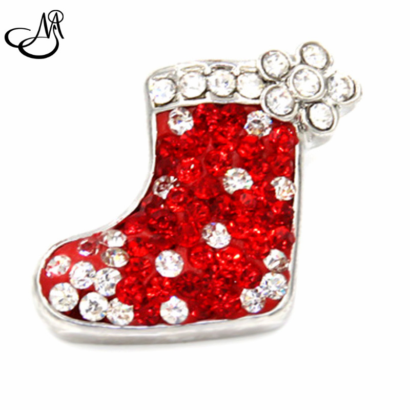 Fashion Christmas DIY Jewelry Snap Jewelry Buttons For Bracelet Necklace DIY Crystal Santa Boot Unique Design Alloy Snaps SB026