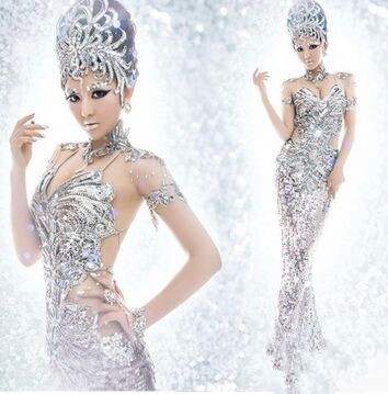 silver queen suit halloween cosplay women sexy club wear pretty queen costumes sexy club party dress silver singer costumes