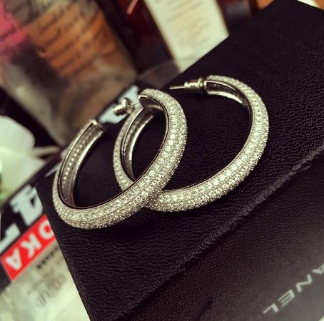 Women's Classic Earrings Set With Round Cubic Rings Of Zircon Cubic Rings Earrings In Luxury Jewelry Eternity Earrings For Women