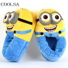 Для женщин зимние Домашние хлопковые тапочки милый маленький желтый Guy 3D глаз плюшевые тапочки, домашние теплые домашние тапочки с рисунком животного женские туфли без задника