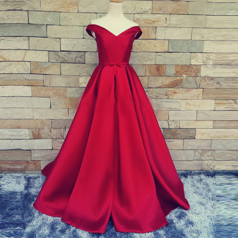 Cap Sleeve V Neck Prom Dress Abendkleider Pleated Satin A Line Floor Length Homecoming Party Dress