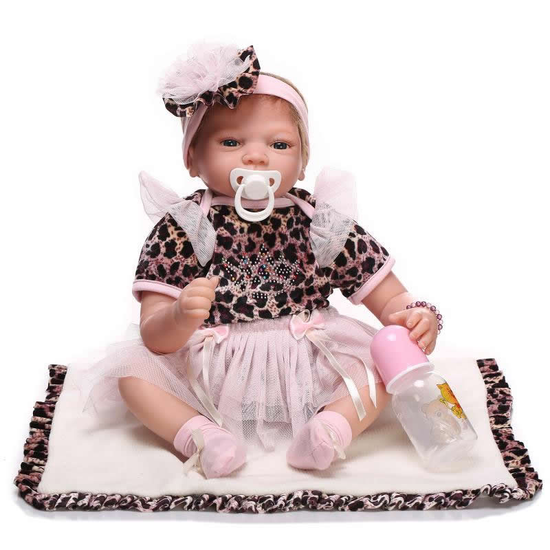 New Style Soft Silicone Newborn Baby Doll 20 Inch 50 cm Lifelike Princess Girl Reborn Dolls With Hair Kids Birthday Xmas Gifts handmade 22 inch newborn baby girl doll lifelike reborn silicone baby dolls wearing pink dress kids birthday xmas gift