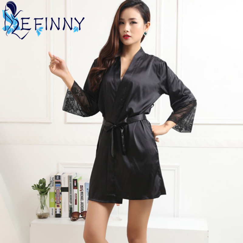 2018 Mid-sleeve Sexy Women Deep-V Nightwear Robes Smooth Lace Silk Female Mini Above Kne ...