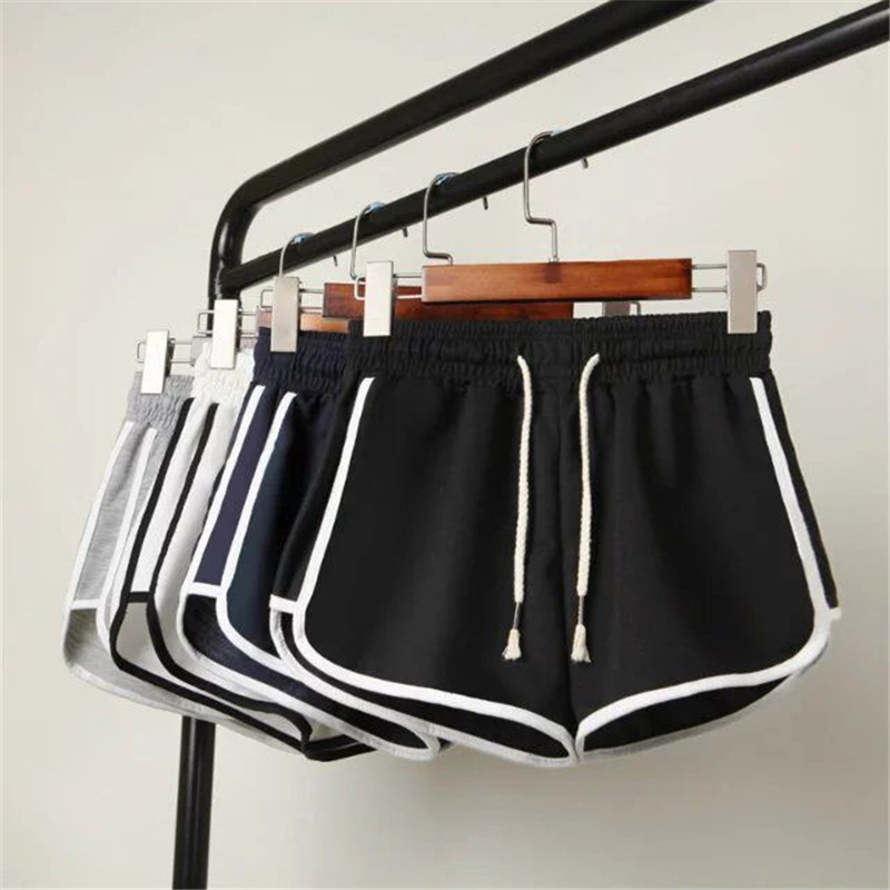 Booty Shorts Stretch Loose Black White Female High-Waist Summer Fashion Woman Beach Casual