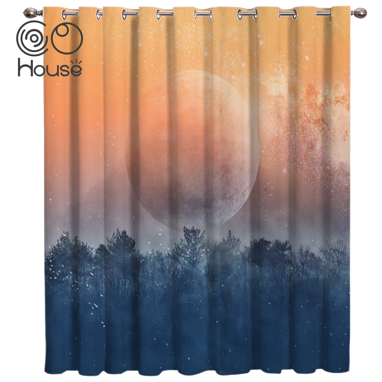CoCoHouse Sunset Forest Planet Window Treatments Curtains Valance Window Curtains Dark Living Room Blackout Bedroom Decor Window