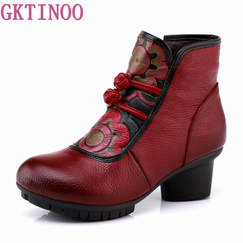 GKTINOO 2018 Women's Ankle Boots Autumn Winter Genuine Leather Boots for Women Handmade Martin Boots Thick High Heels Shoes elegant handmade women boots flower high quality women shoes autumn and winter genuine leather thick heels platform ankle boots