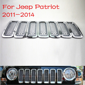 Arrive 7PCS Replacement ABS All Chromed Silver Front Car Grills Grille For Jeep Patriot 2011 2012 2013 2014 Car styling