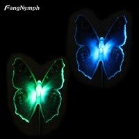 2pcs Butterfly Shape Solar Fiber Optic Color Changing Garden Stake Lights Lamp