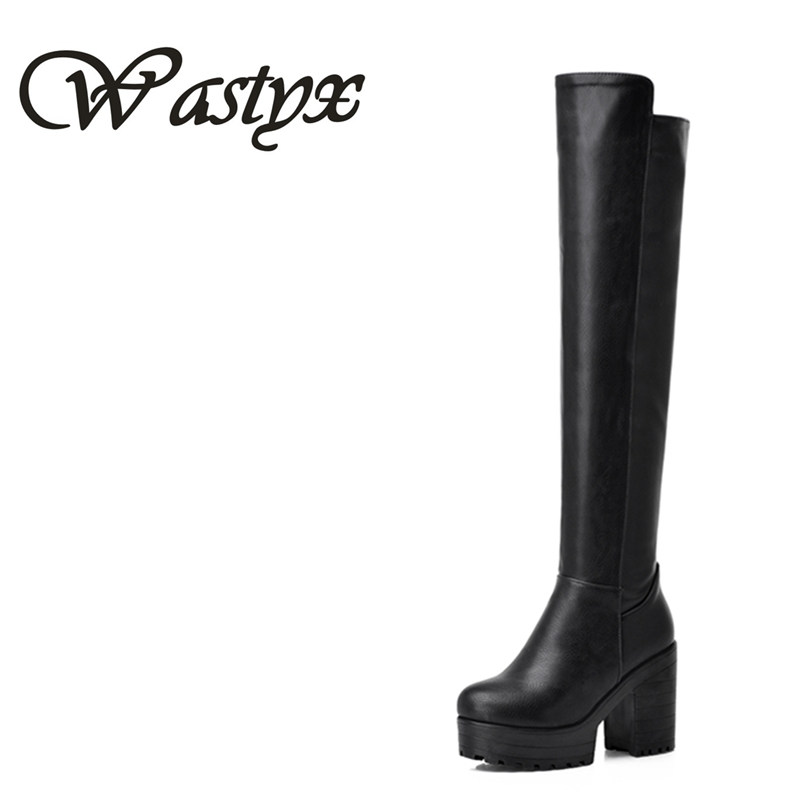 Wastyx new over the knee boots high heels women boots fashion hoof heels shoes woman platform footwear winter boots size 34-43 wastyx new winter over the knee boots sexy super high women boots thin heel shoes woman fashion round toe sapato feminino 34 48