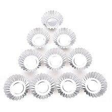 Marka yeni 10 adet gümüş alüminyum kek yumurta Tart kalıp kurabiye puding kalıp üreticileri Cupcake gömlekleri pişirme pasta araçları