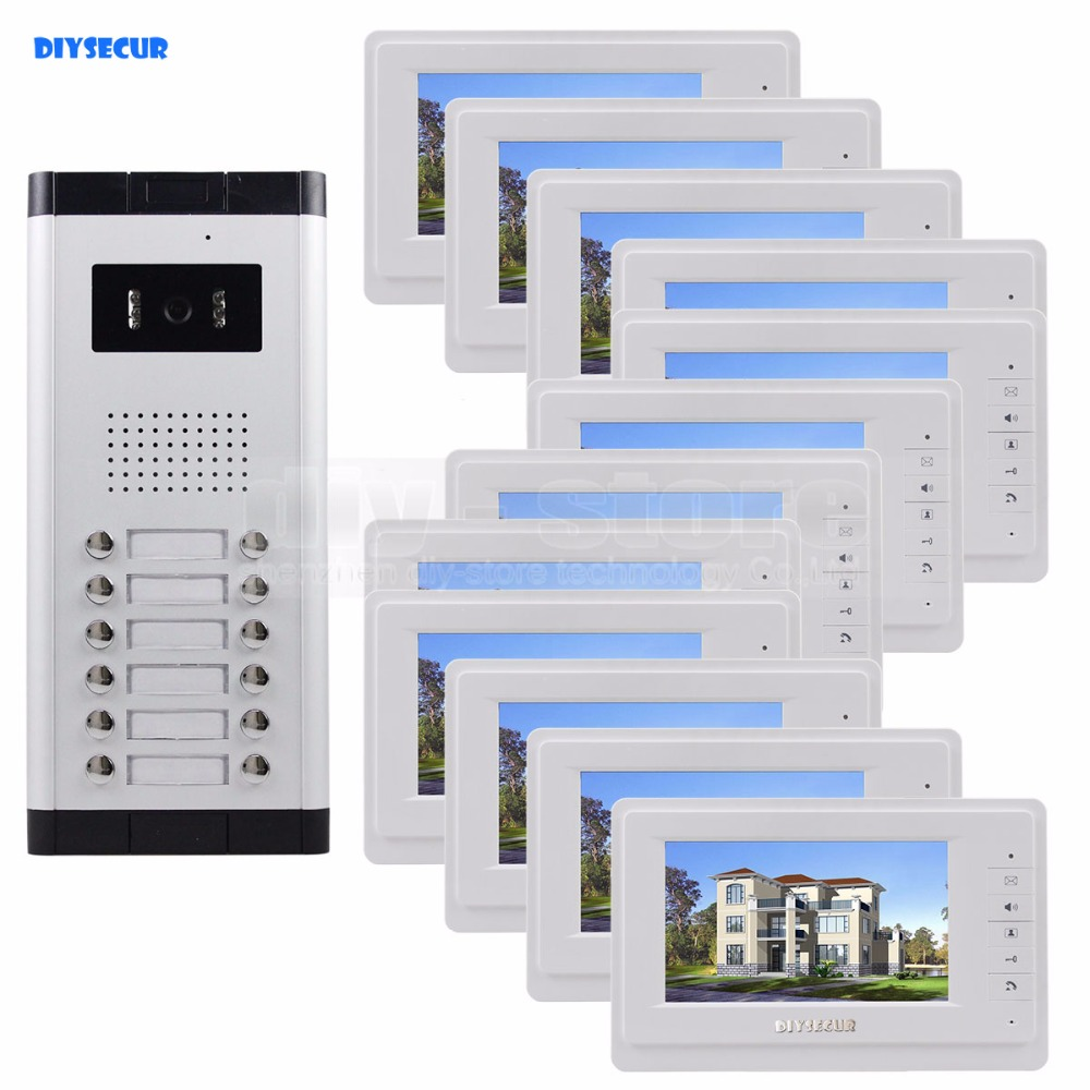 DIYSECUR 7 4-Wired Apartment Video Door Phone Audio Visual Intercom Entry System IR Camera For 12 Families new apartment 2 unit intercom entry system wired video door phone audio visual