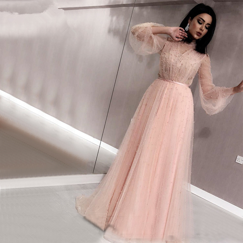 Dlass Black Peach Pearls Beach Tulle   Prom     Dresses   2019 Latest Design Long Sleeves Sexy Evening Gowns robe de soiree