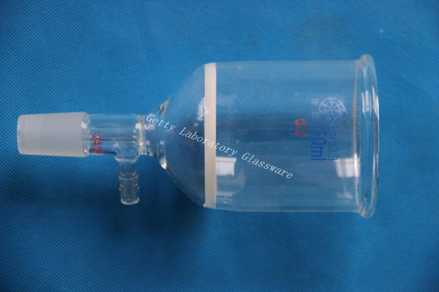 250ml Glass Buchner funnel filter, 3# core size 15-40 Micron, with 10mm hose connection,24/29 joint.