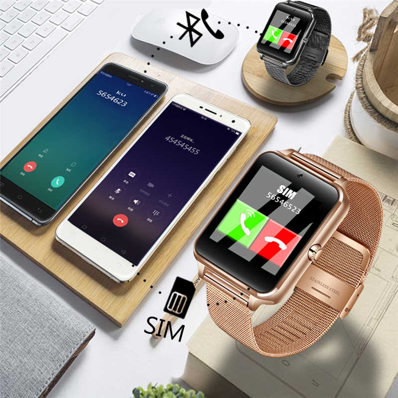 Hommes femmes Bluetooth montre intelligente Sport podomètre Smartwatch avec caméra Support carte SIM Whatsapp Facebook pour téléphone Android